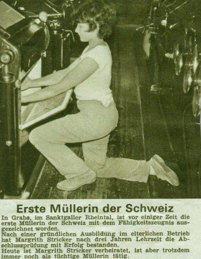 Margrith Stricker, erste Müllerin der Schweiz